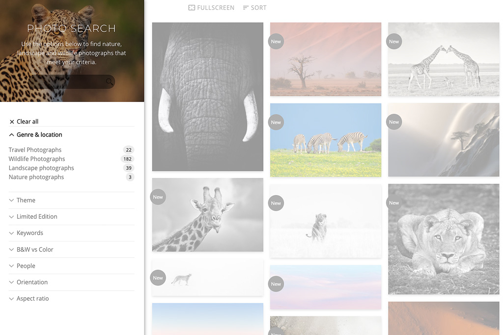 Filter displaying the nature, landscape and wildlife photography genres.