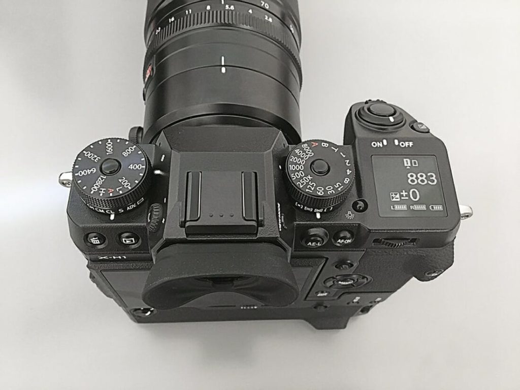 FujiFilm X-H1 Camera Top View of full body, the Eye cap, the dials for settings of photography, back display and all buttons on camera