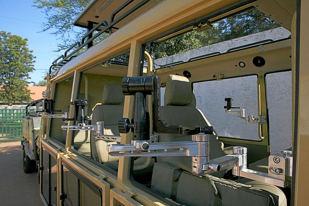 Gimbals for the Wildlife Photo Tour on each seat for the Kalahari Park