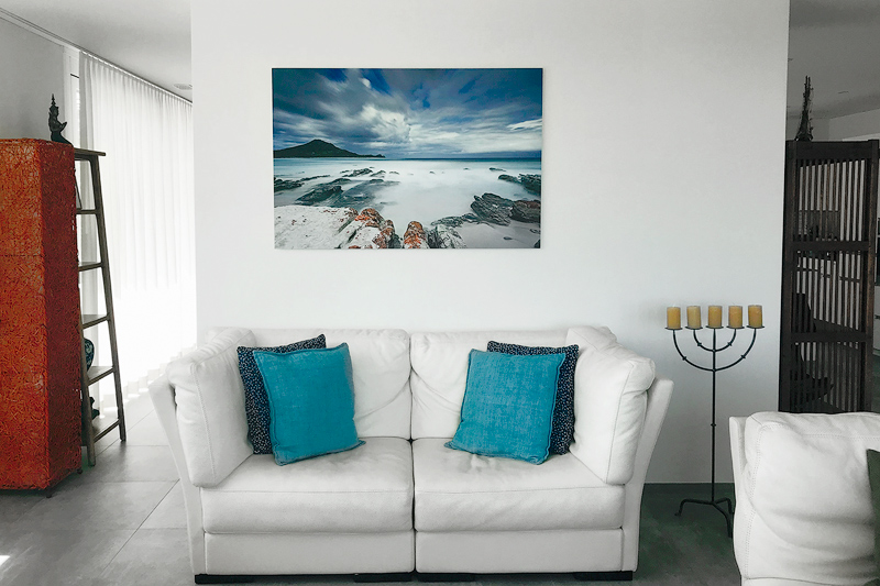 Client Testimonial aluminum dibond photographic print hangs in living room