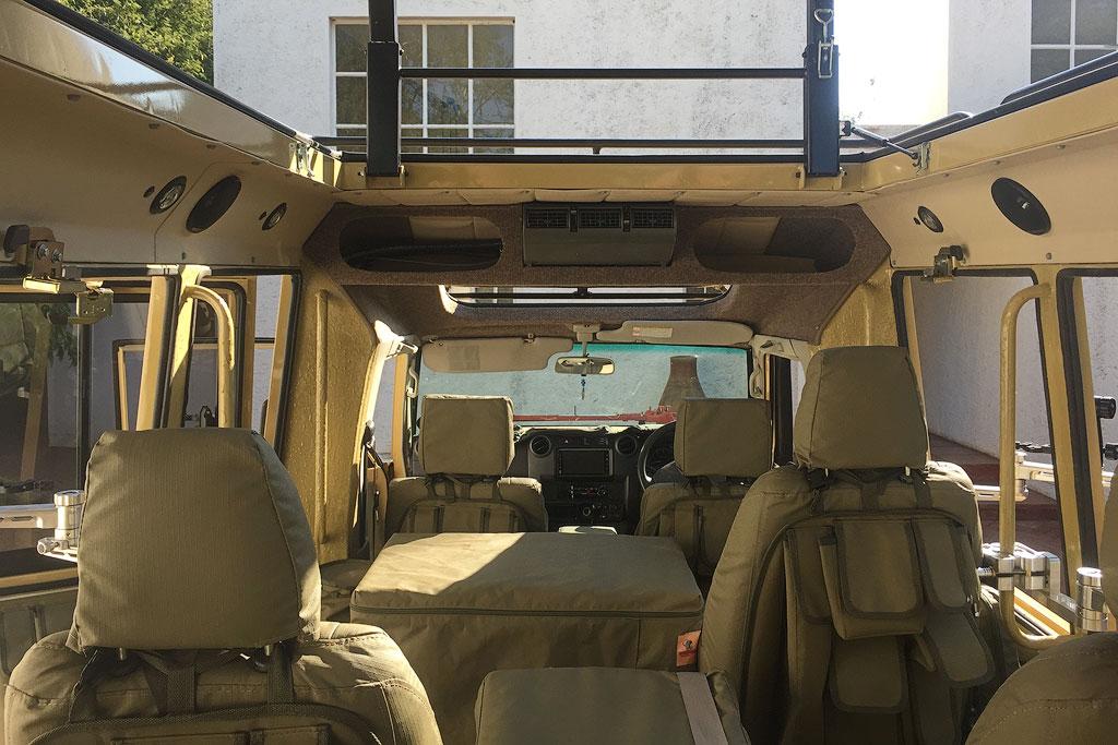 Inside of the Wildlife Photo Tour custom made safari vehicle