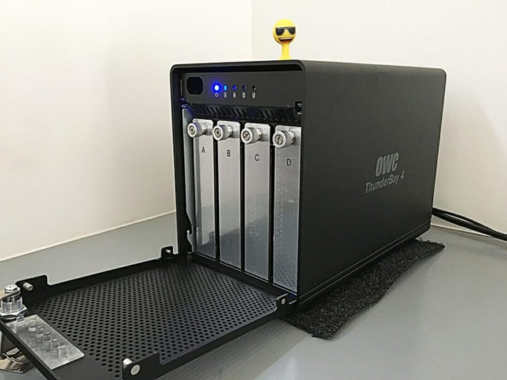 Raid storage and image storage, a RAID with open door to see the hard drives inside. Raid for professional Photographer