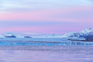 The beautiful soft pink and purple pastels of the sunrise complements the icy-blue glacier in Kongsfjorden. (copyright Anette Mossbacher)