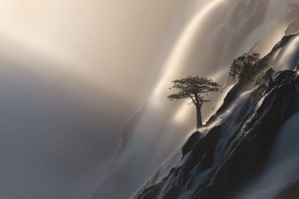 A beautiful Baobab tree is standing between the waterfalls in this fine art landscape photograph. (copyright Anette Mossbacher)