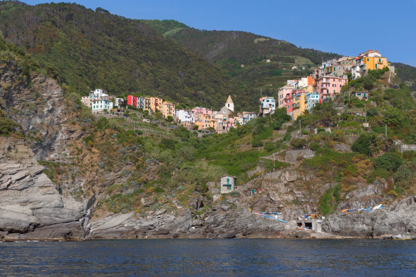 Corniglia in the Cinque Terre Italy has many beautiful sights to behold. Houses along the mountains. (copyright Anette Mossbacher)