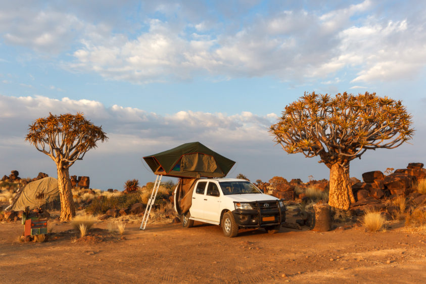 Between two Quiver trees stands a jeep with an open rooftop tent. Everything is in a soft orange glow. (copyright Anette Mossbacher)