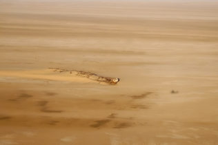 Areal photo of the shipwreck Eduard Bohlen that stranded due to fog at the Skeleton Coast in Namibia (copyright Anette Mossbacher)