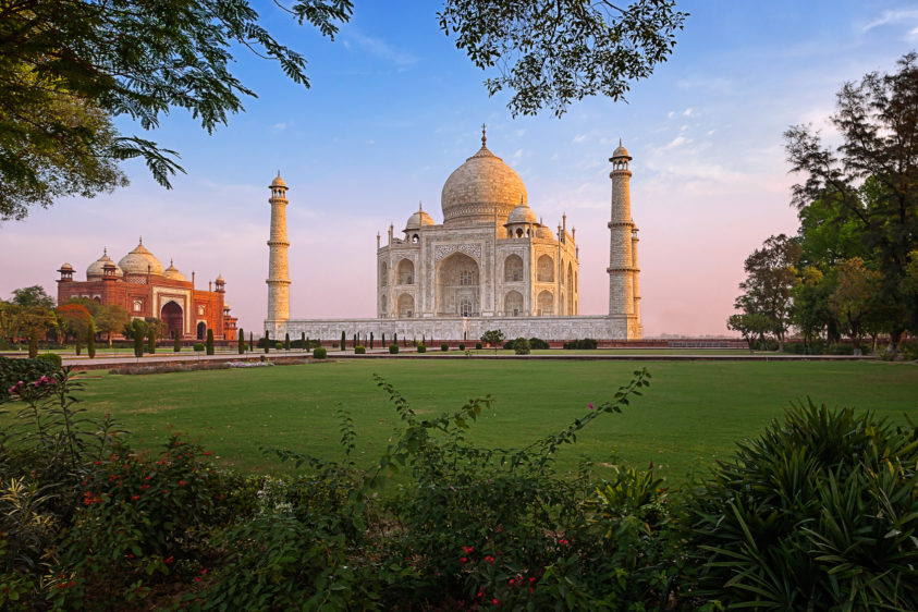 Early sunrise above the beautiful Taj Mahal garden, the view has a peaceful setting. (copyright Anette Mossbacher)